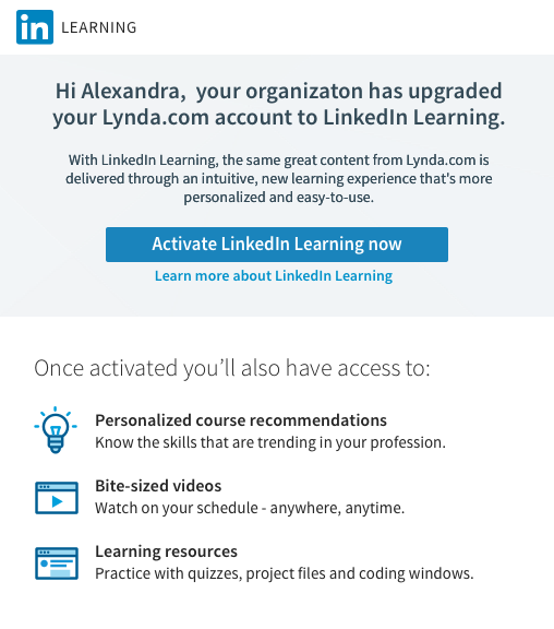 Screenshot of LinkedIn Learning activation