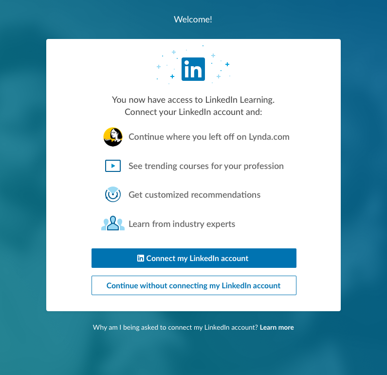 Screenshot of optional LinkedIn account connection page