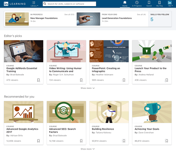 Screenshot of LinkedIn Learning